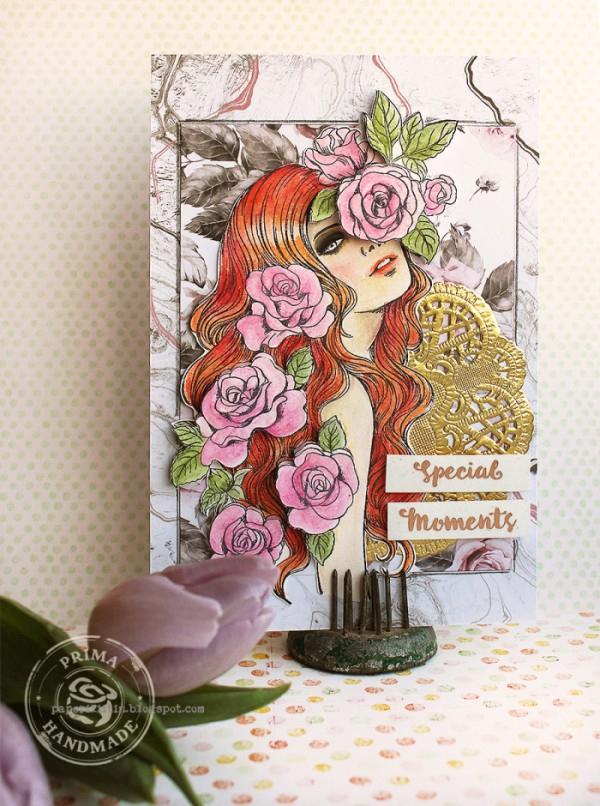 Project: Female and Flowers Stamped Card