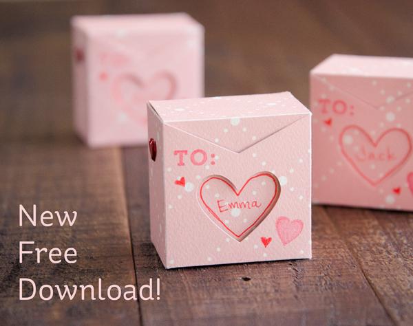Freebie: Mini Valentine's Day Treat Box Die