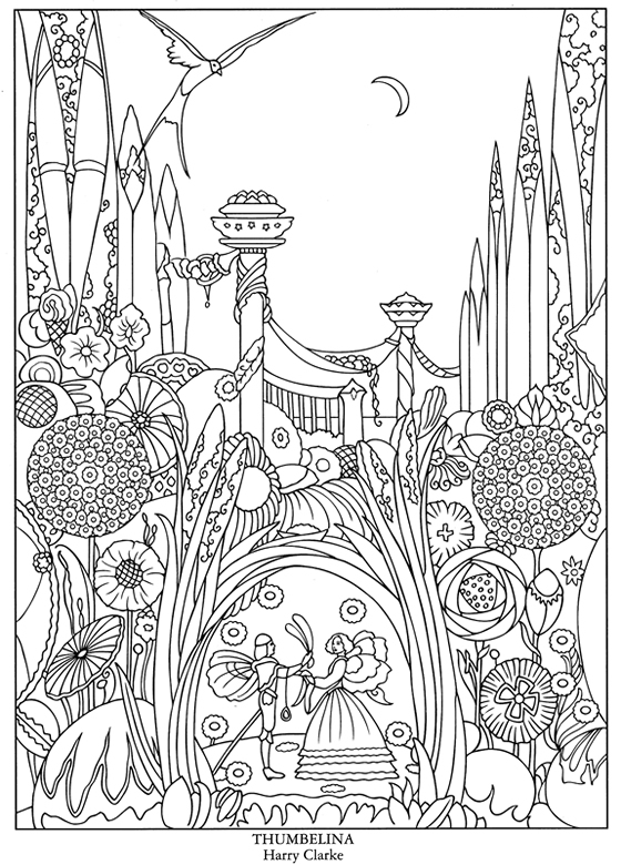 Download Thumbelina Fairy Tale Coloring Page Stamping