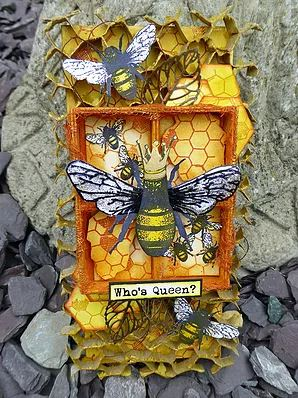 Project Queen Bee Mixed Media Box Stamping