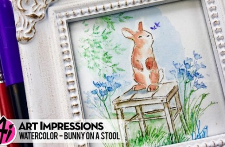 Project: Bunny Siting on a Stool Water Color
