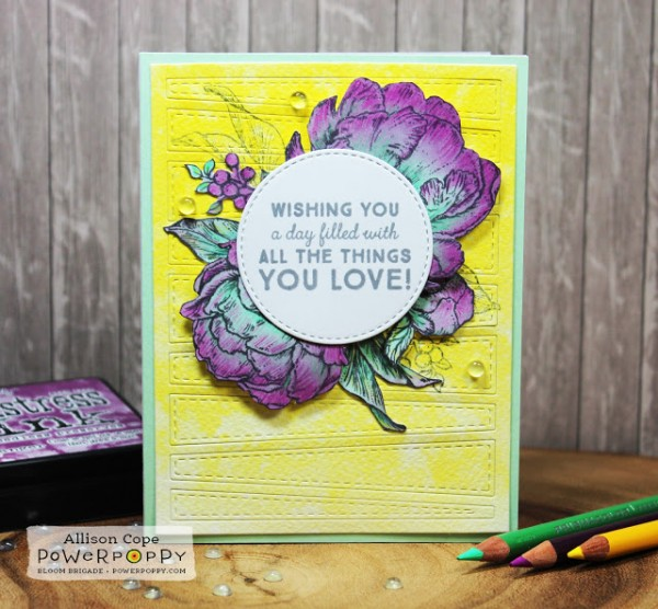 Technique: Peony Card with Inking and Colored Pencils