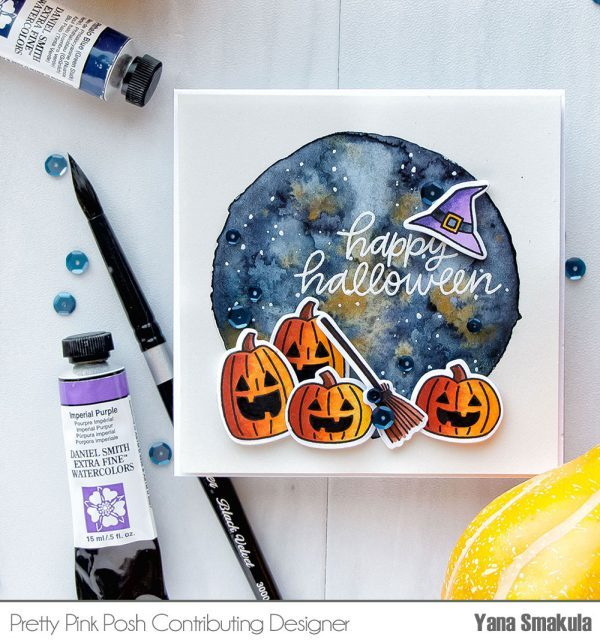 Technique: Water Colored Galaxy Halloween Card Background