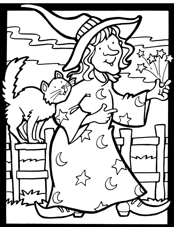 Download: Witch and Cat Halloween Coloring Page