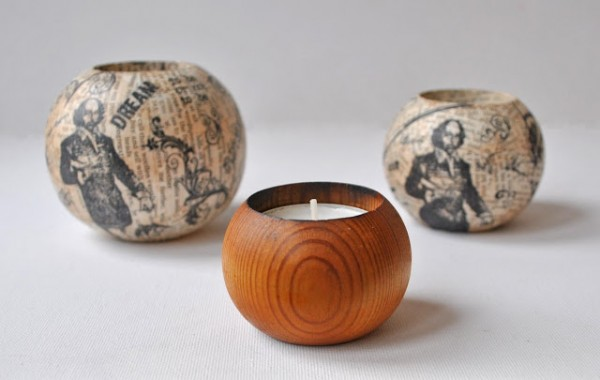 Project: Stamped and Decoupaged Candle Holder