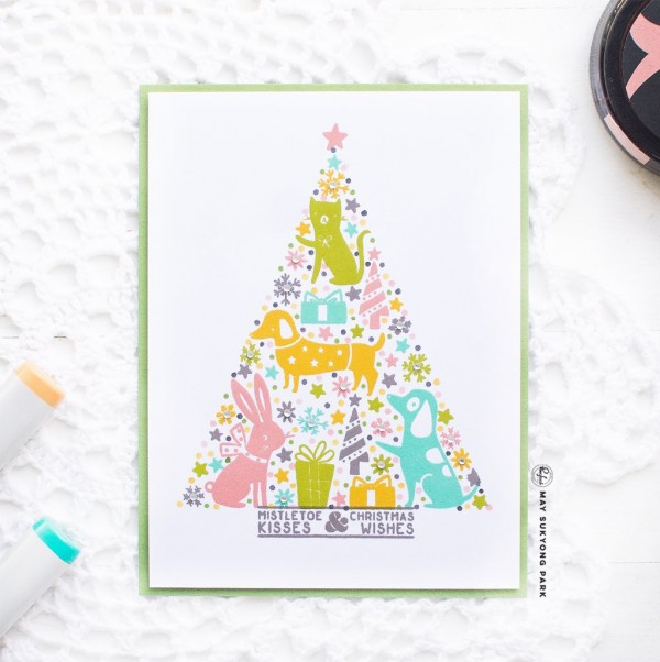 Technique: Shaped Background Stamping Christmas Card