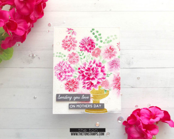 Technique: Dahlia Card with White Instead of Black Stamped Outline
