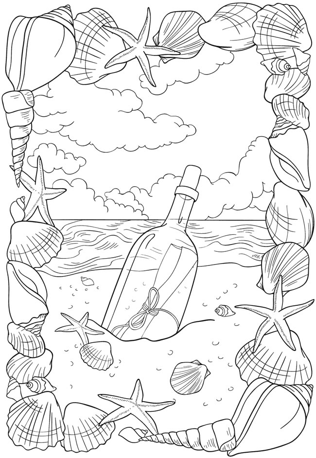Message in a Bottle Coloring Page