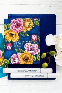 One Layer Floral Card with Copic Coloring
