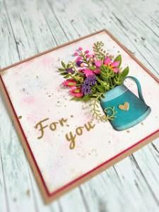 Watering Can Bouquet Die Cut Card