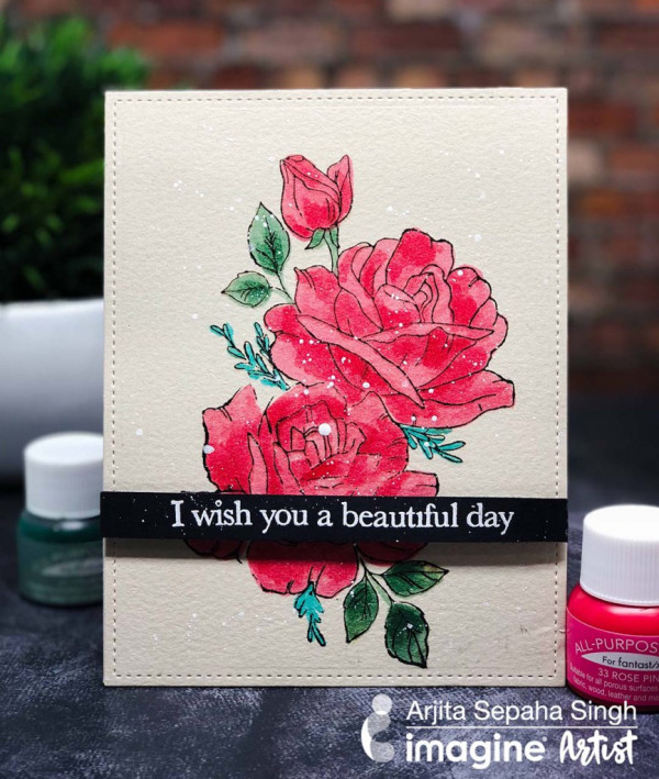 Rose Card with All-Purpose Ink and Fantastix