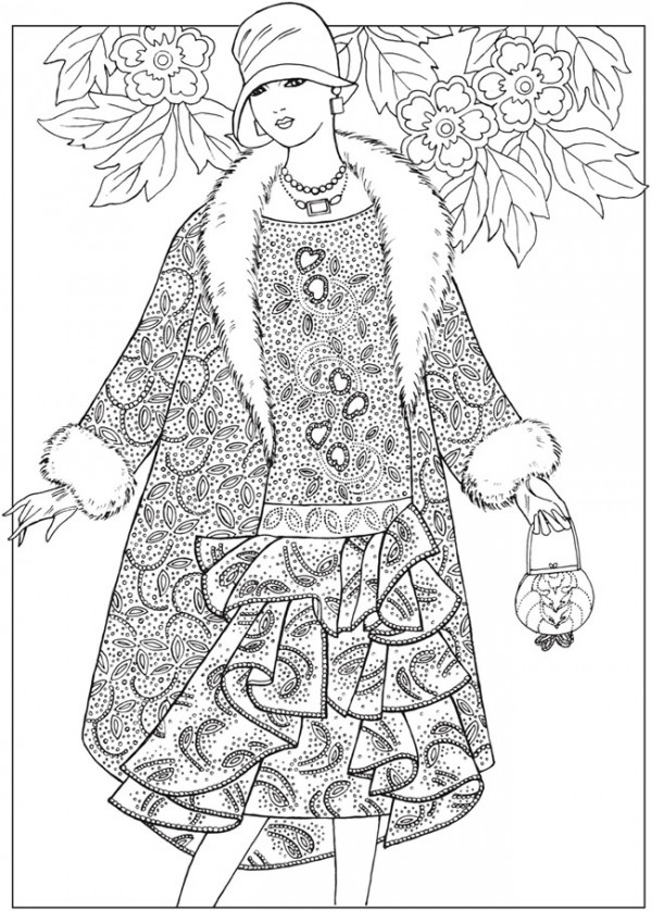 Six Jazz Age Fashion Design Coloring Pages Stamping