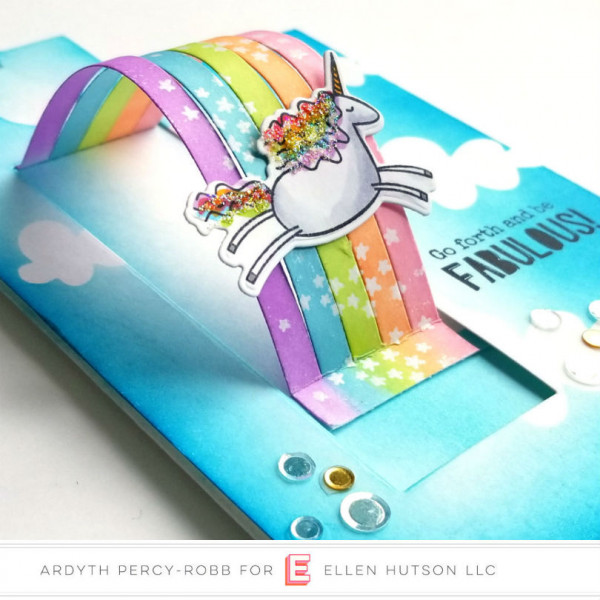 Pop Up Slider Rainbow and Unicorn Card