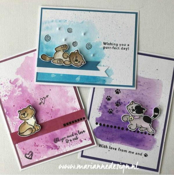 Cat Cards with Watercolor Backgrounds