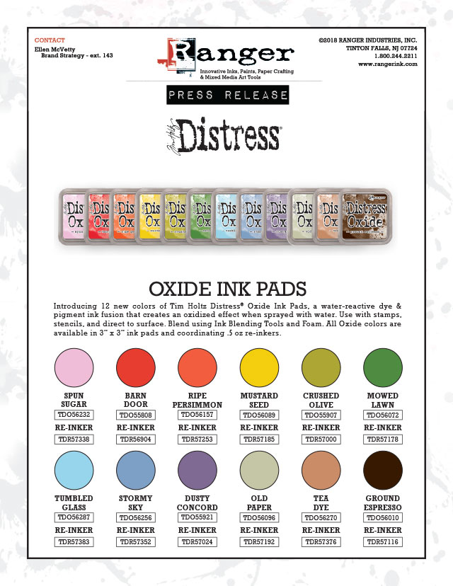 12 New Colors Of Distress Oxide Inks