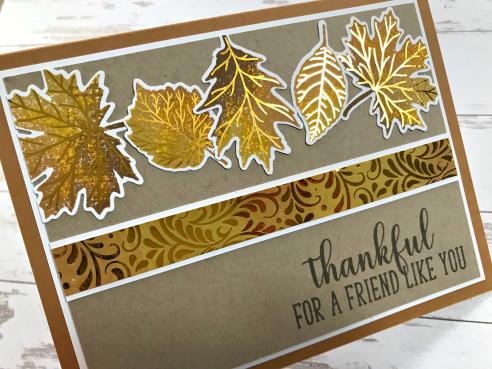 Foiled Fall Leaves Card