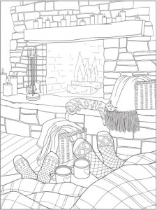 6 Warm and Happy Home Coloring Pages