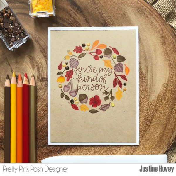 Autumn Wreath Card with No-Line Coloring