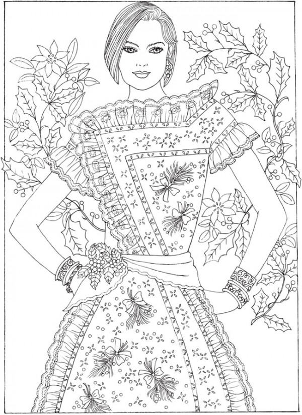 6 Christmas Fashion Coloring Pages