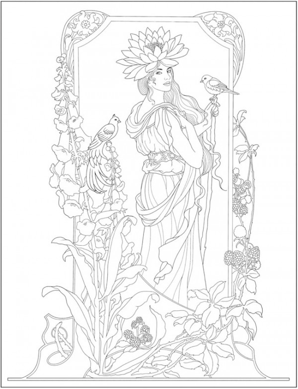 4 Fanciful Women Coloring Pages