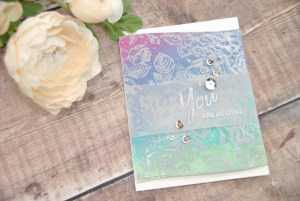 Ink Blended and Embossed Card with Vellum