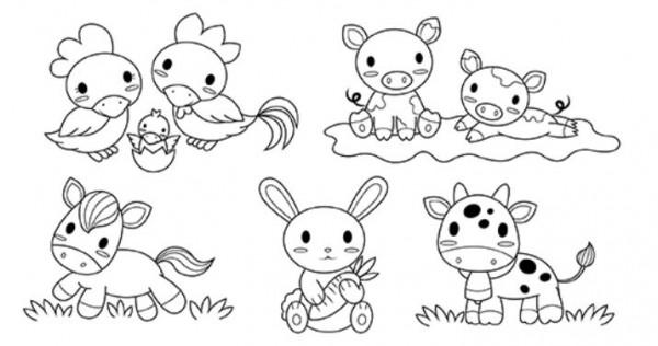 Baby Farm Animal Digital Stamps