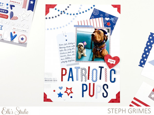 Patriotic Pups Scrapbook Page with Stamps