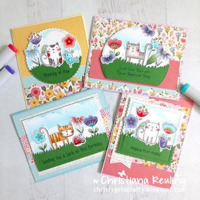 1 Stamp 4 Ways - Cat Cards
