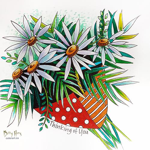 Daisy Bouquet Color Card Download