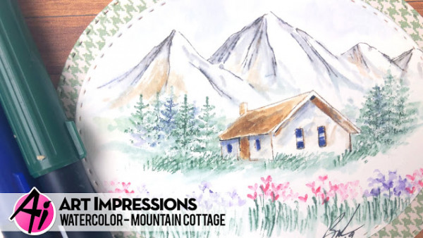 Mountain Cottage Water Color Card
