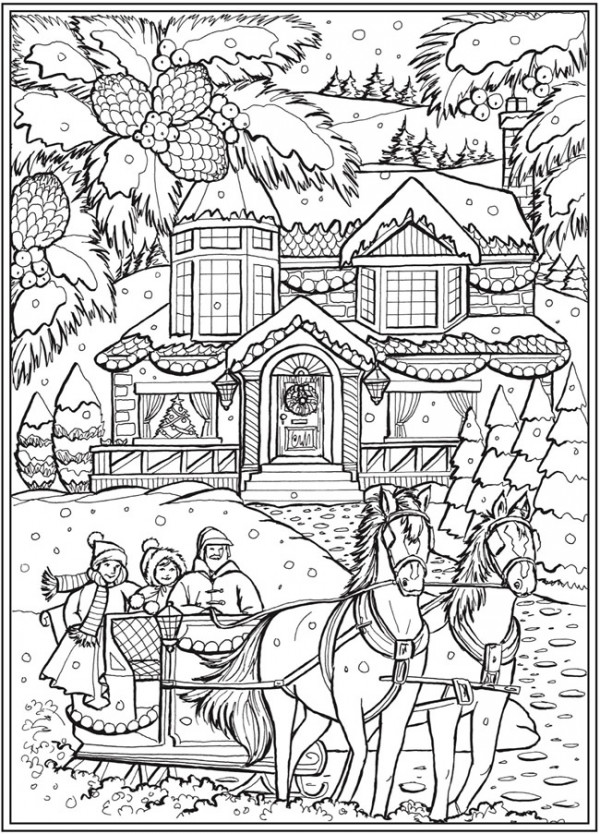 6 Country Christmas Coloring Pages
