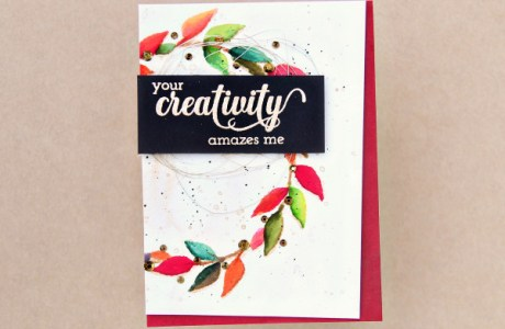 Water Colored Stencil Wreath Card