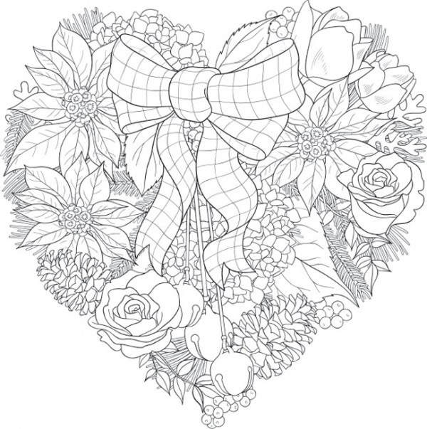 6 Christmas Floral Coloring Pages