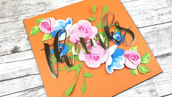 Large Floral Die Cut Card