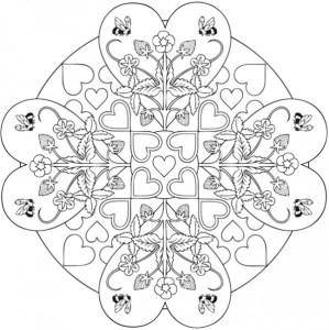 4 Heart Mandala Coloring Pages