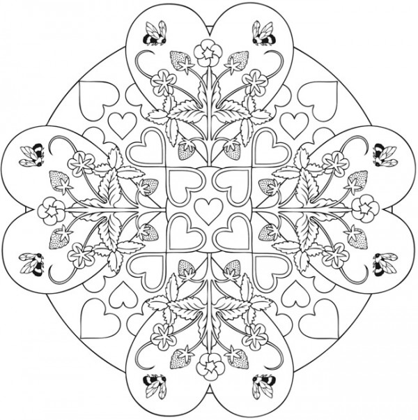 4 Heart Mandala Coloring Pages