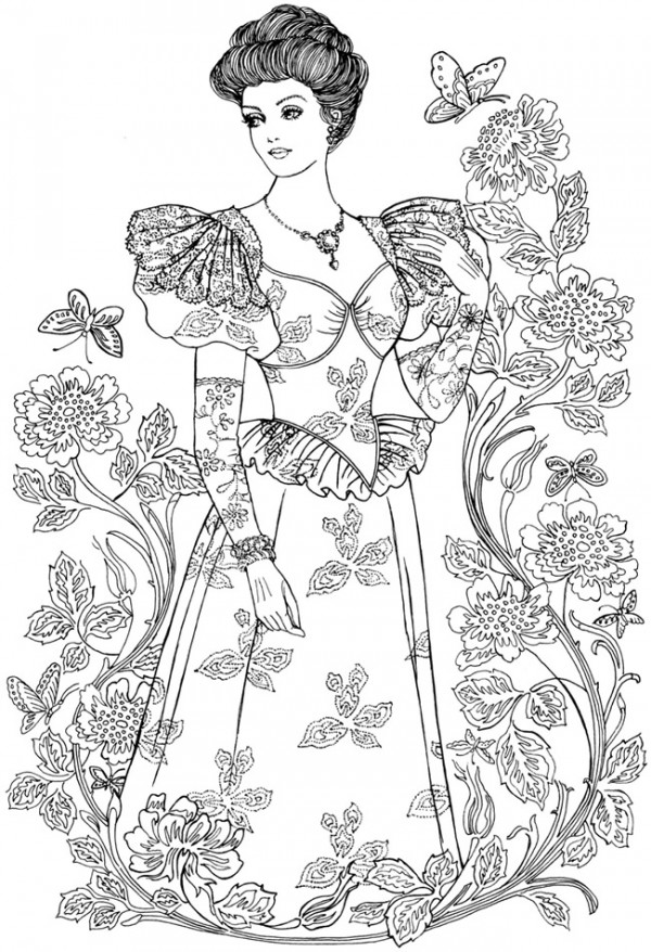 Vintage Fashion Coloring Pages Stamping