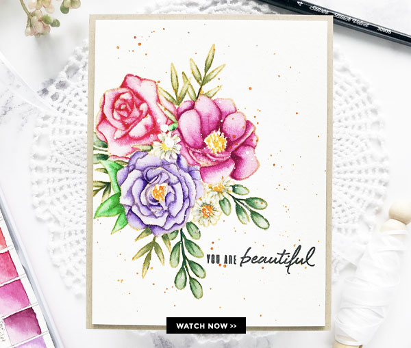Flower Bouquet Card with No-Line Coloring