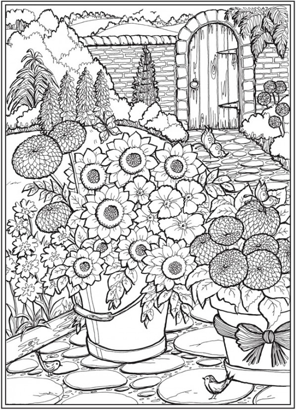 6 Country Garden Coloring Pages - Stamping