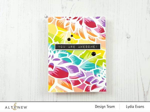 Rainbow Stripe Card with Stencils