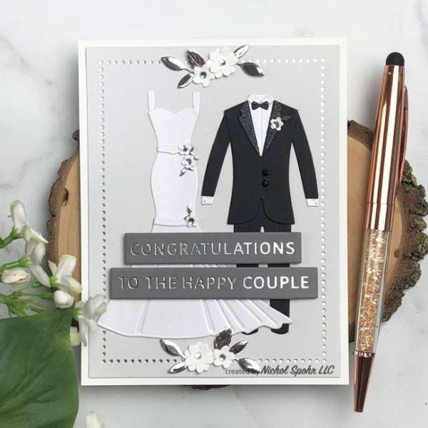 4 Wedding Cards with Dies