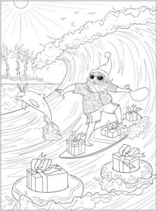 6 Tropical Christmas Coloring Pages