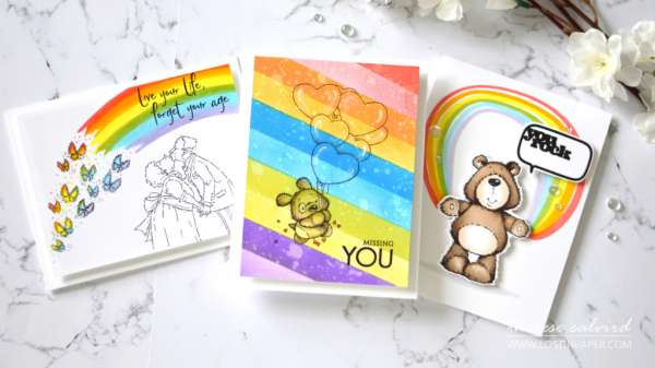 5 Rainbow Background Cards
