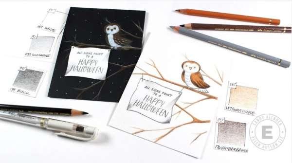 Halloween Barn Owl Cards