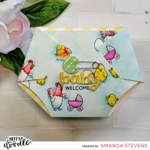 Diaper Shaped Baby Card with Template