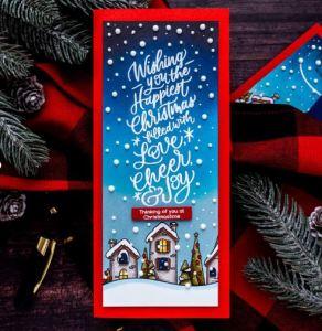 Slimline Winter Village Card