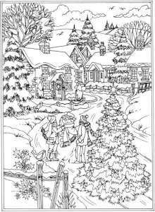 Winter Scene Coloring Pages