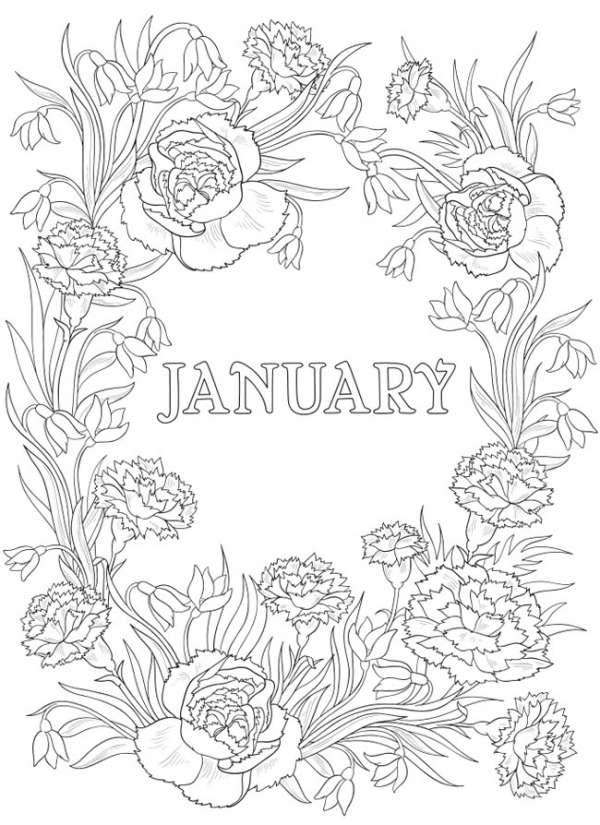 6 Monthly Flower Coloring Pages