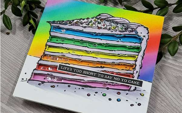 Rainbow Cake Shaker Card