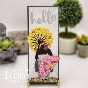 Geisha Folded Fans Card
